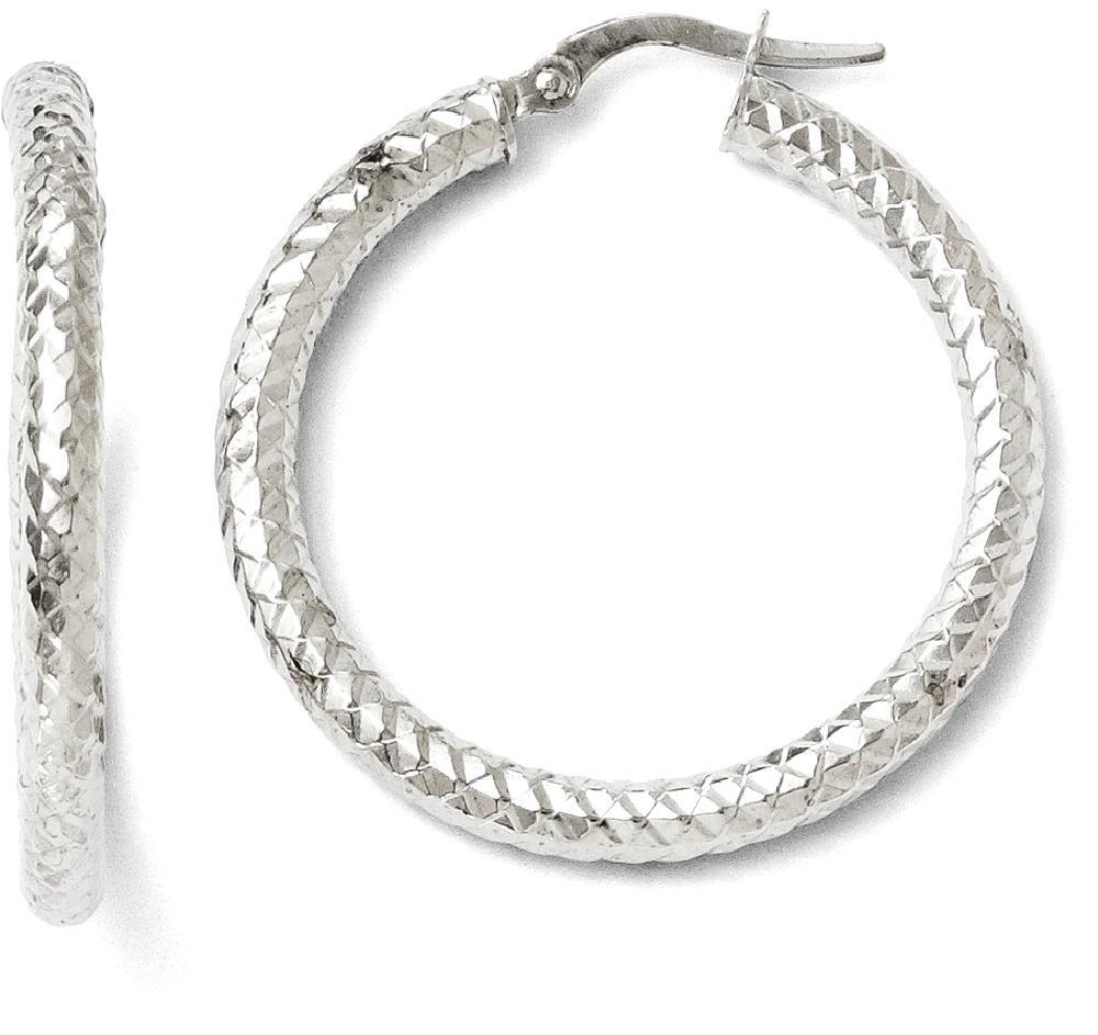 ICE CARATS 14k Foreverlite White Gold Textured Hoop Earrings Ear Hoops Set Fine Jewelry Gift Set For Women Heart