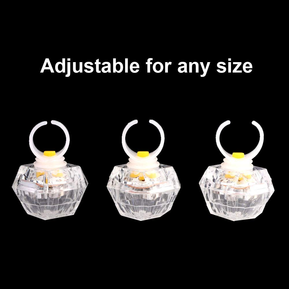 Leobee LED Light up Rings Toys, White Led Bumpy Rings for Birthday Bachelorette Bridal Shower Gatsby Party Favors, Clear Case 30 Pack by Leobee (Image #4)