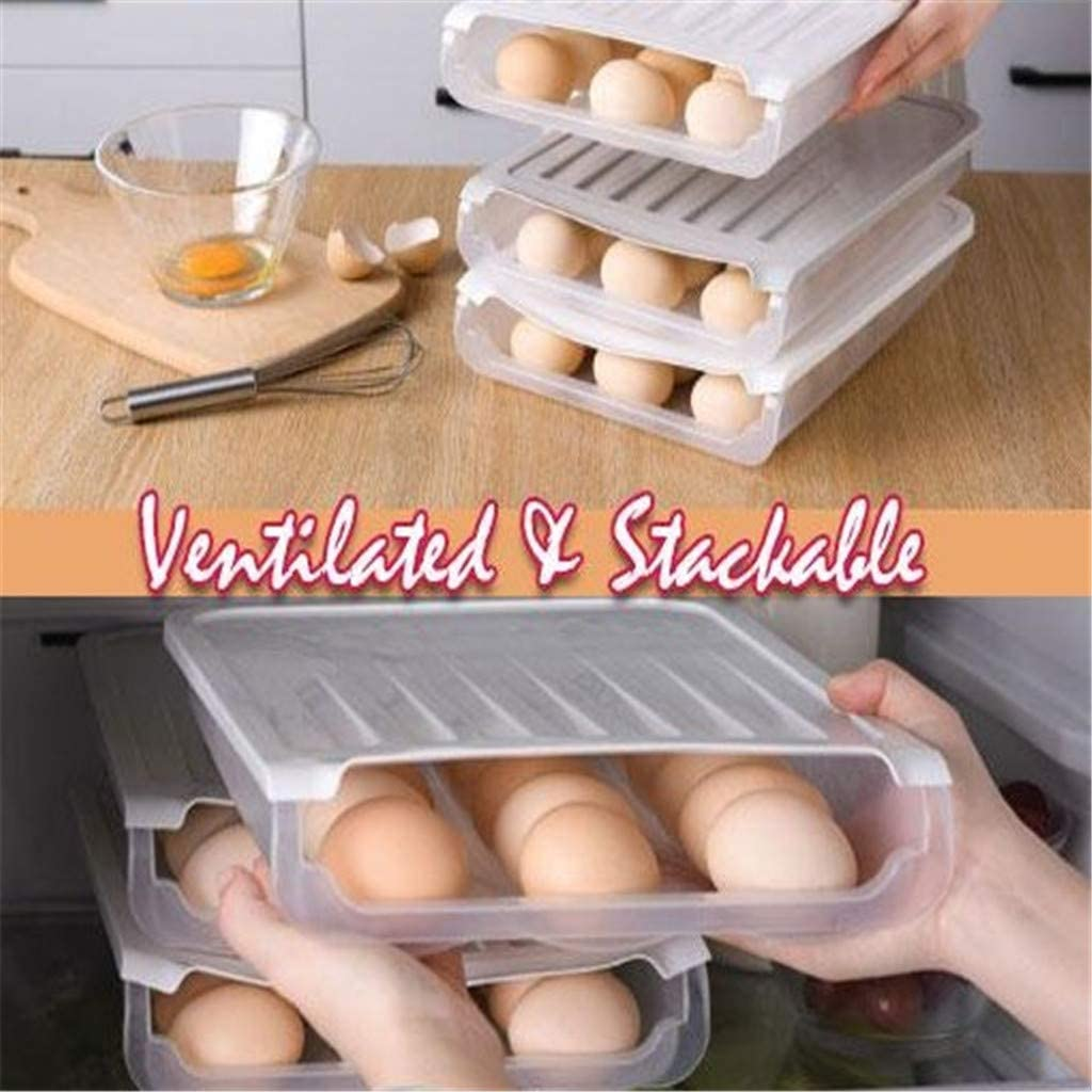 Gray Egg Container Case Refrigerator Fresh Storage Boxs Organizer Egg Tray Holder Eggs Plastic Space Saver Organizer Container JYClothing 24 Grid Auto Scrolling Egg Storage Holder