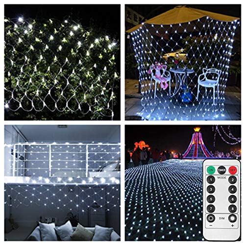 Battery Led Net Mesh Lights,9.8ft x 6.6ft,200 LED,Decorative String Lights for RV Campfire BBQ Music Festival Welcome Tree[Remote,8 Mode,Timer,Dimmable,Need 3 X Type D Battery(Not Included)]-White -