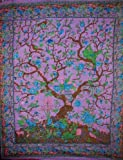 Tree of Life Tapestry Cotton Bedspread 108'' x 88'' Full-Queen Purple