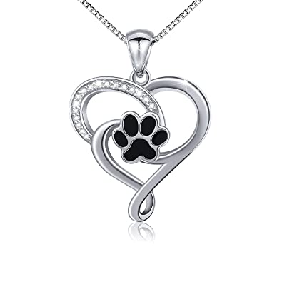 GuqiGuli Sterling Silver Love Heart and Dog Paw Print Jewellery Pendant Necklace for Women and Girls, 18 inch