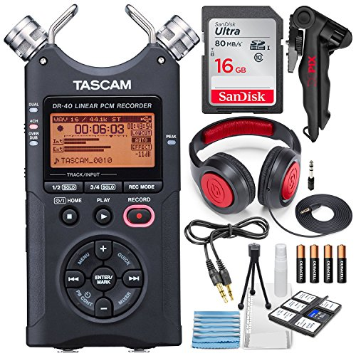 Storage Connectivity Kit - Tascam DR-40 4-Track Handheld Digital Audio Recorder with Deluxe Accessory Bundle and Cleaning Kit
