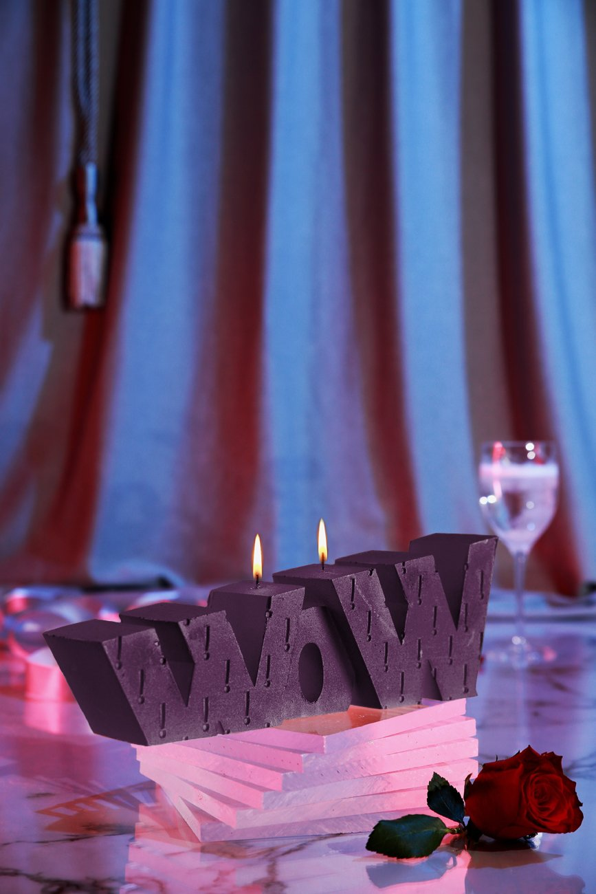 Candellana Candles 5902841360297 Giant Wow Sign Candles, Violet