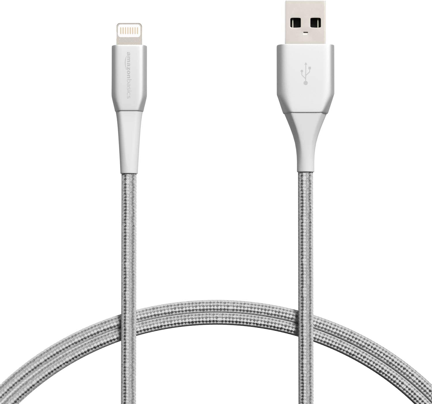 AmazonBasics Premium Double Nylon Braided Lightning to USB Cable - MFi Certified Apple iPhone Charger, Silver, 3-Foot