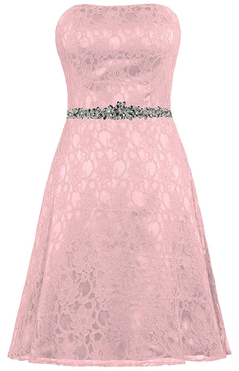 bluesh ZAXANTS Women's Strapless Lace Cocktail Dresses Short Party Dress