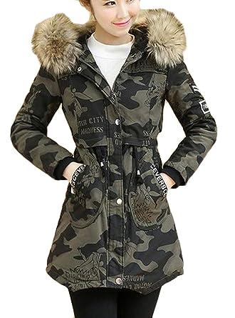 Amazon.com  Ptyhk RG Women Winter Thicken Faux Fur Jacket Hooded Camo Parka  Coat  Clothing add0bf45ca