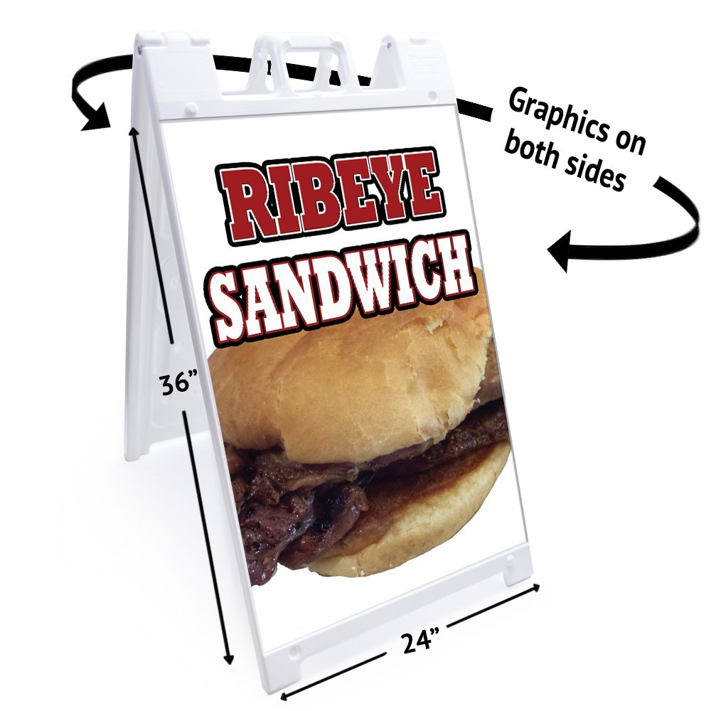 Amazon.com: A-frame Ribeye Sandwich Sign With Graphics On Each Side | 24