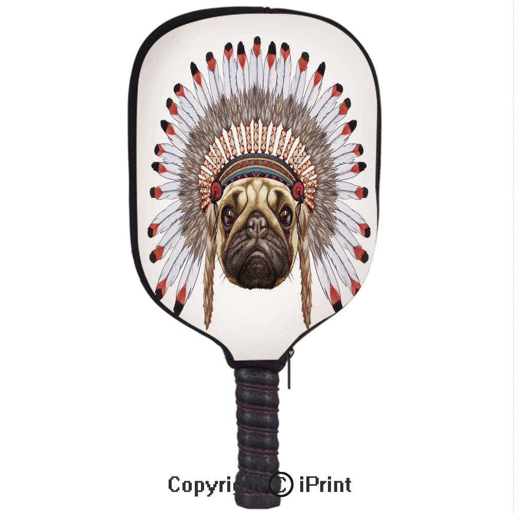 Amazon.com : Neoprene Premium Pickleball Paddle Racket Cover Case, Portrait of a Dog as a Native with War Bonnet Hand Drawn Illustration of Fun Animals ...