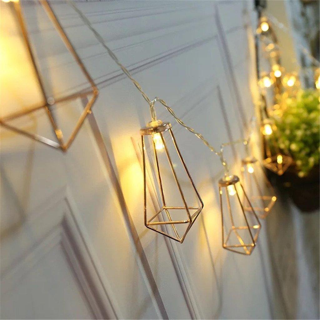10 FT LED String Lights, 20 Rose Gold Geometric Diamond Lantern ...