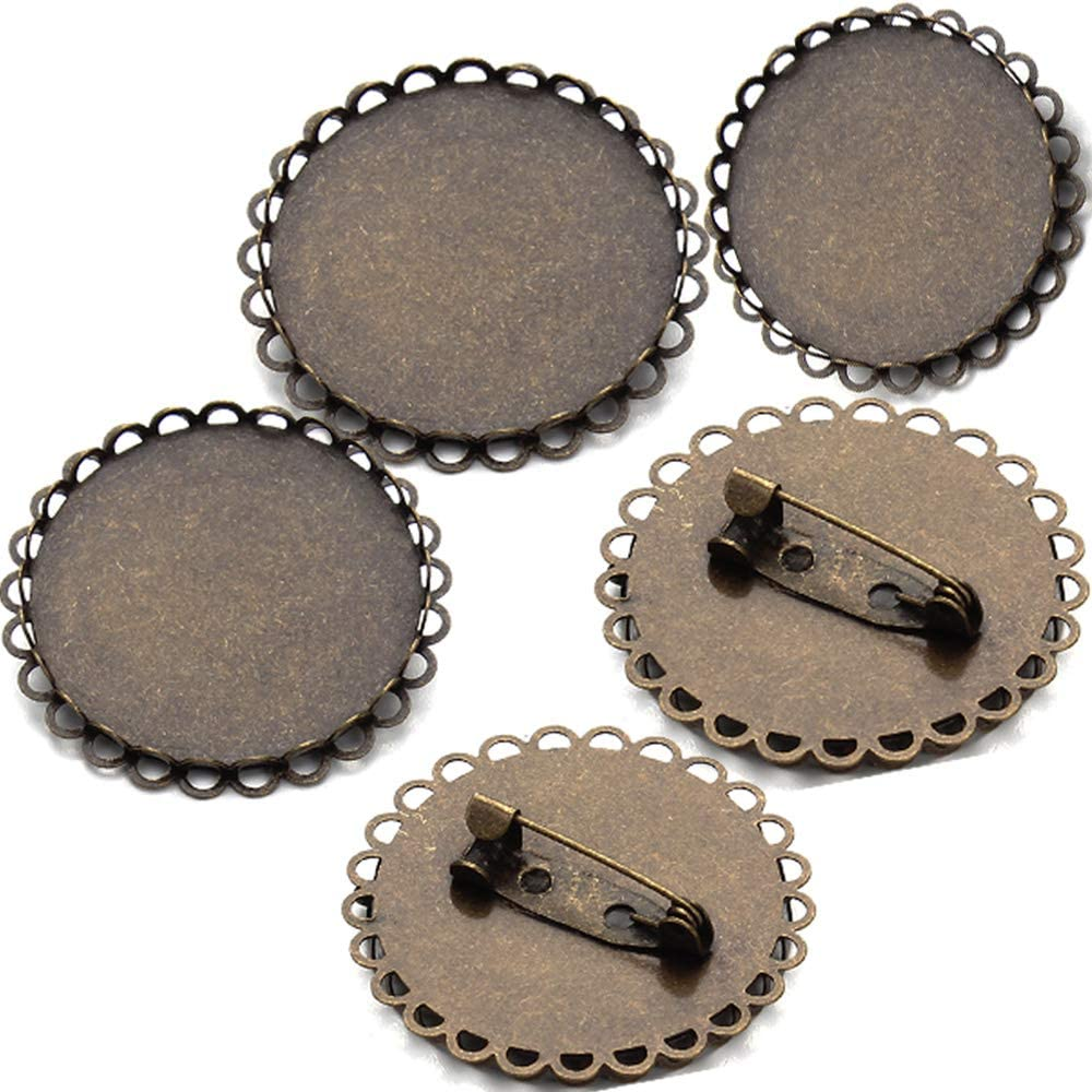 Bronze Tone Round Cabochon Frame Setting Brooches 30mm(1.2in) for Women Brooch Back Safety Catch Back Round Bar Pins 15PCS