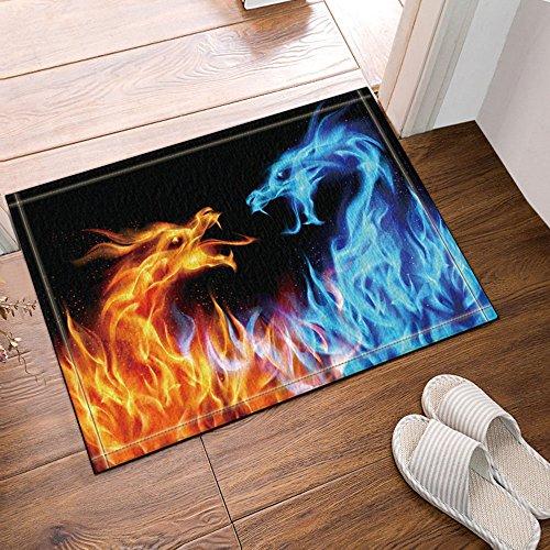 NYMB Fire Dragon Blue Against Yellow Bath Rugs, Non-Slip Floor Entryways Outdoor Indoor Front Door Mat,60x40cm Bath Mat Bathroom Rugs