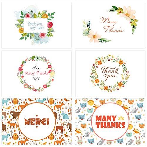 Ohuhu Thank You Card, 48 Thank U Greeting Cards of 6 Designs W/ 48 Envelopes for Wedding, Graduation