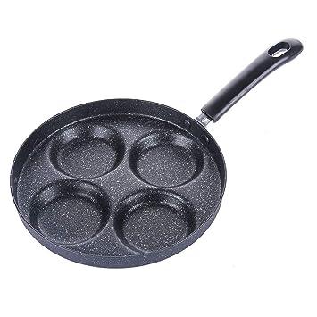 Sartén de Cuatro Orificios para Huevos Pancake Maker sartenes Antiadherente Creativo Antiadherente No Hay Humo de