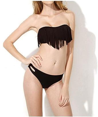 d2a8c80186 Amazon.com  Ru Sweet Sexy Padded Boho Fringe Bandeau Strapless Two Piece  Bikini Bathing Suit  Clothing