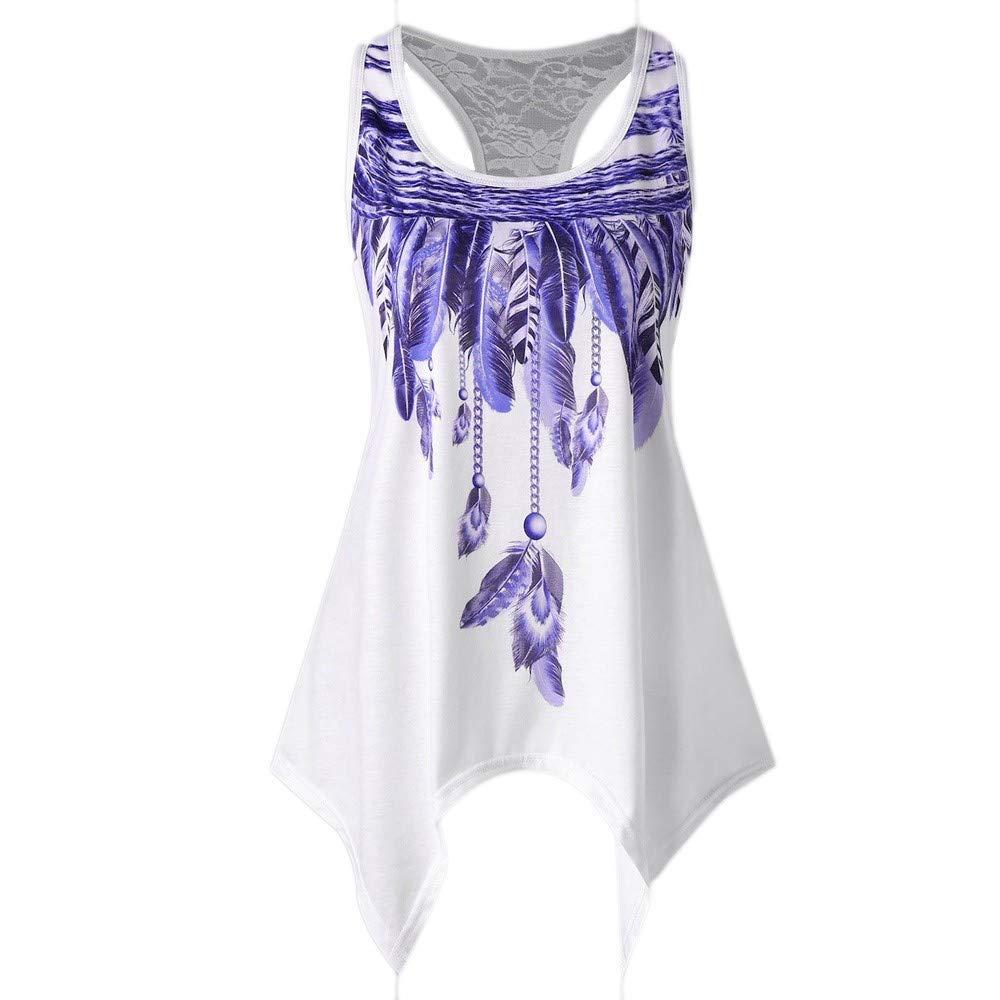 Women Summer Lace Vest Top Short Sleeve Blouse Casual Tank Top T-Shirt Purple