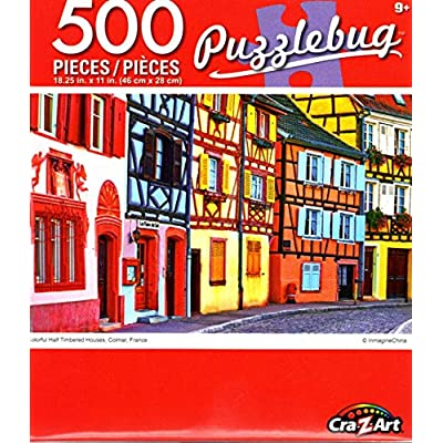 Cra-Z-Art Colorful Half Timbered Houses, Colmar, France - 500 Piece Jigsaw Puzzle: Toys & Games