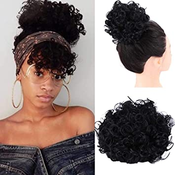 Difei Creative 2019 New Afro Kinky Curly Hair Bangs Hair Closure Chignons Synthetic Afro Puff Drawstring