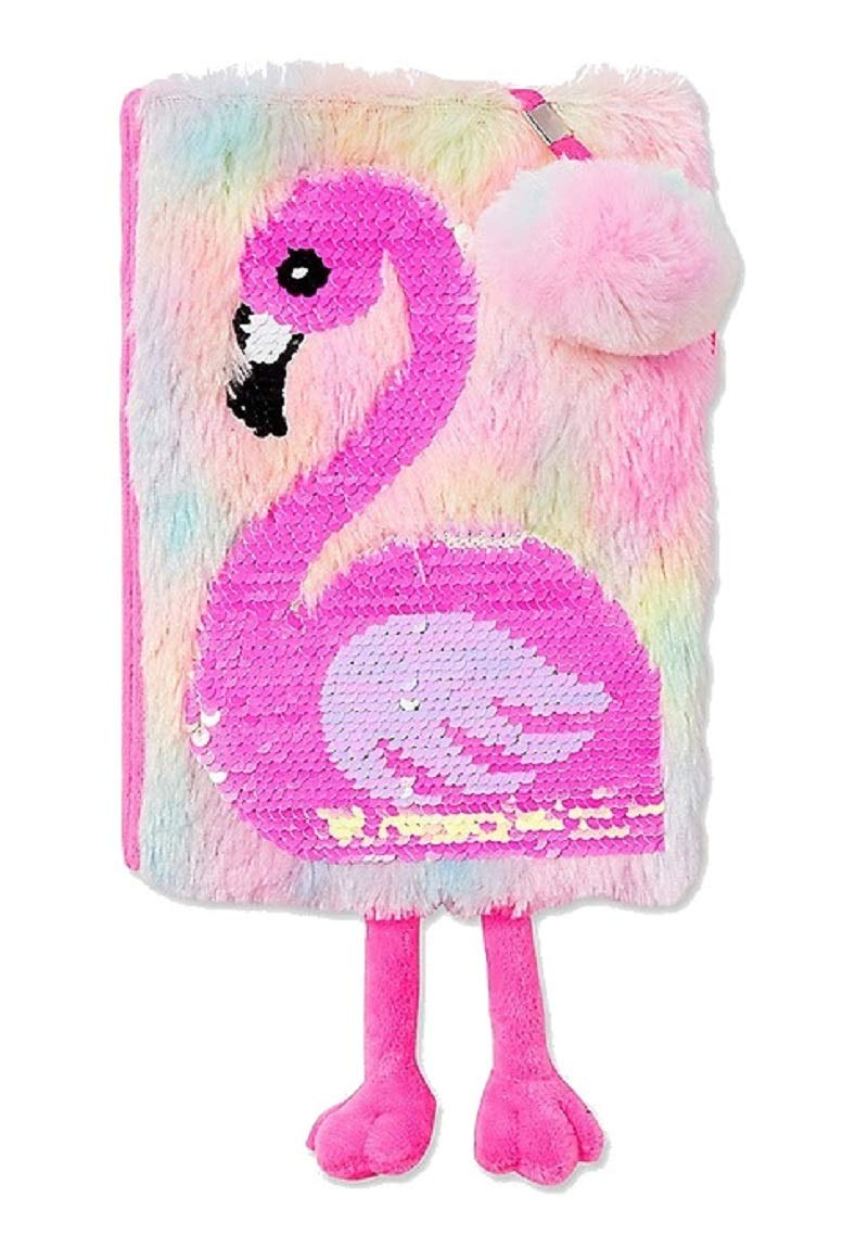 Justice for Girls Flamingo Flip Sequin Faux Fur Journal Diary by Justice