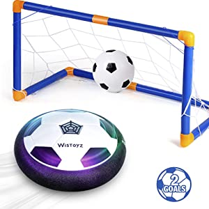 Xiangtat Kids Toys Hover Soccer Ball Set with 2 Goals, Air Soccer with Led Light, Excellent Time Killer for Boys/Girls, Hovering Soccer Ball with Foam Bumper for Indoor Games, Inflatable Ball Included