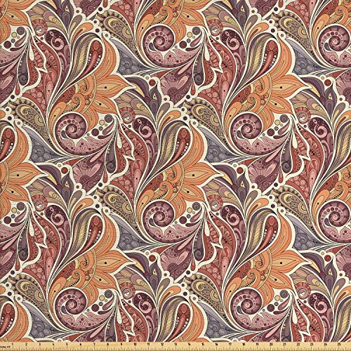 Ambesonne Floral Fabric by The Yard, Traditional Paisley Leaf Pattern with Persian Arabesque Details Colorful Boho Design, Decorative Fabric for Upholstery and Home Accents, 3 Yards, Multicolor
