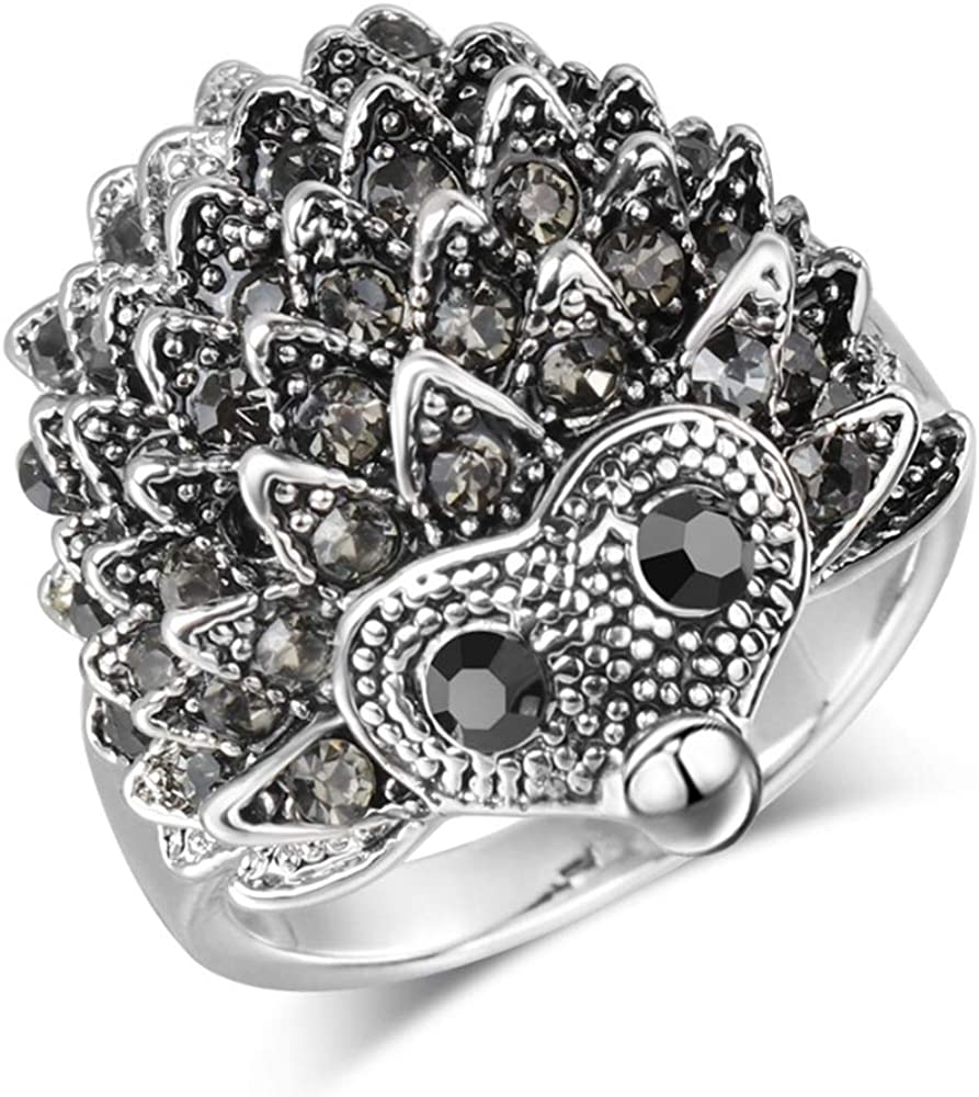 Ueice Personalidad De La Moda De La Mujer Erizo Anillos De Diamantes con Piedras Preciosas Negras