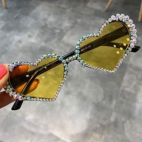 Yangjing-hl Corazón Gafas de Sol Mujer Rhinestone Decoración ...
