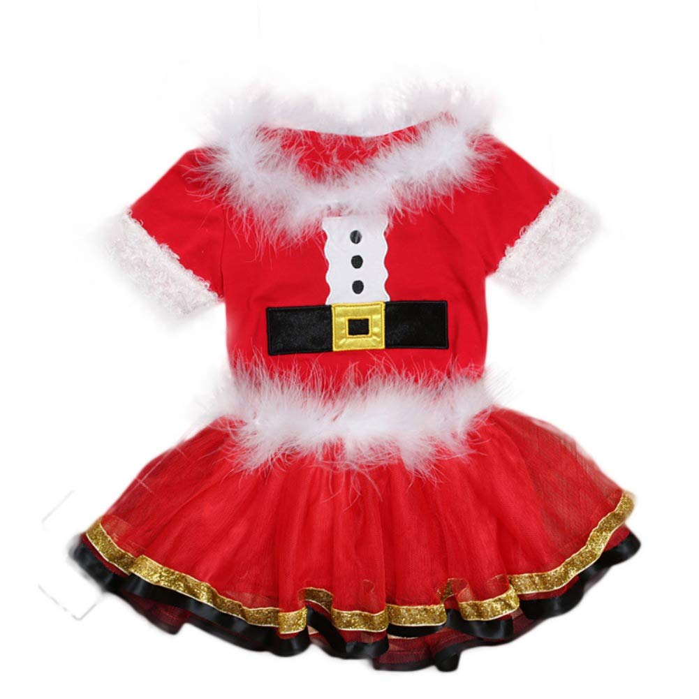 Bywell Weihnachtsoutfit Baby Mädchen Weihnachts Kleid Kleinkind Weihnachten Bekleidung Set Baby Strampler Kleid Bodys Tütü