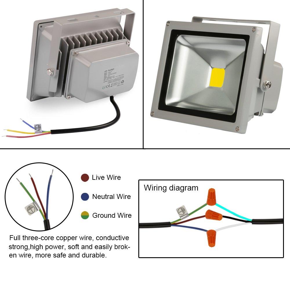 Ledmo 50w Led Flood Lights Waterproof Floodlight Wiring Diagram 30w 1 0 Ip65 6000k Light
