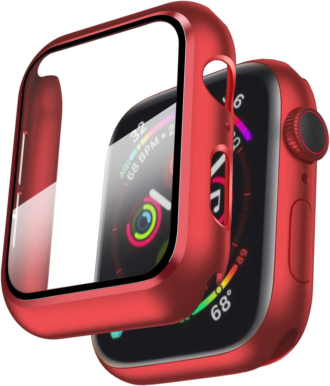 Smiling Case Compatible with Apple Watch Series 6/SE/Series 5/Series 4 40mm with Built in Tempered Glass Screen Protector- All Around Hard PC Case Overall Protective Cover- Red