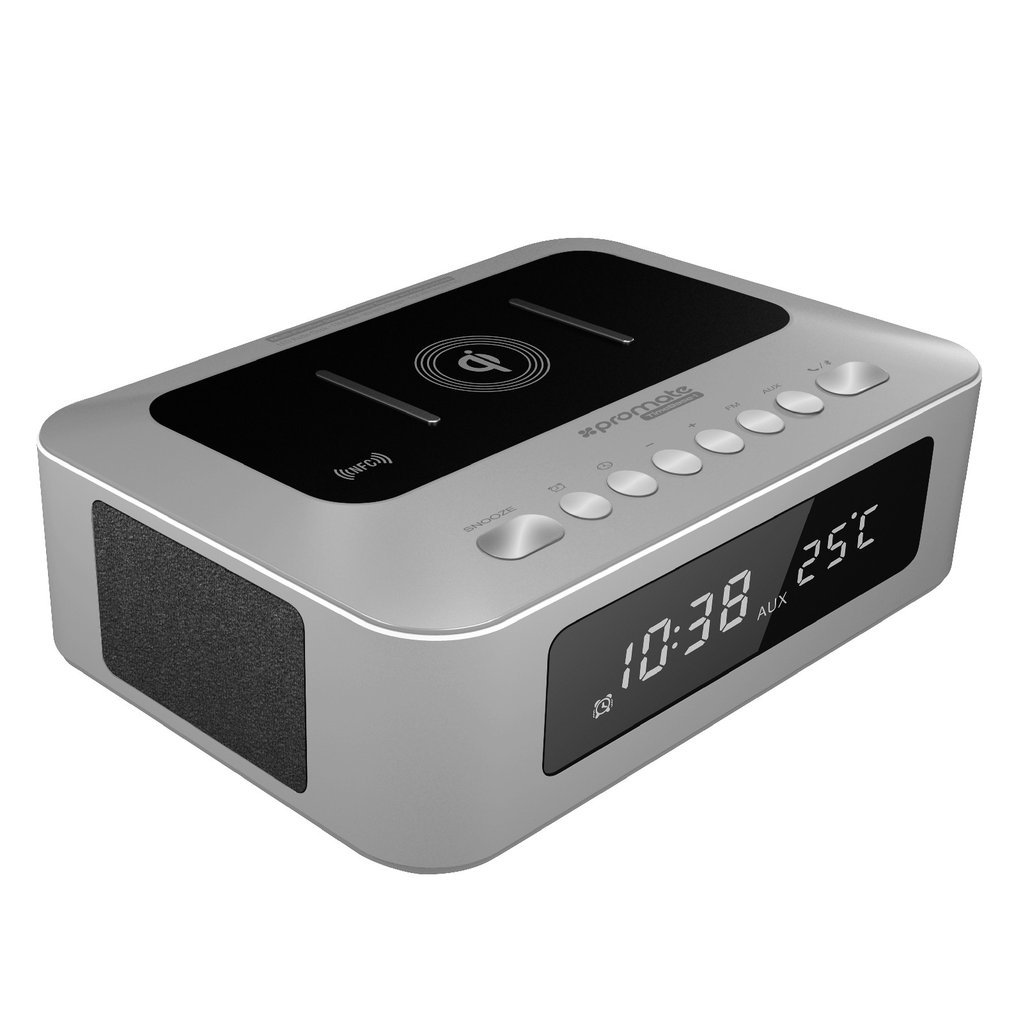 Promate 多機能 ステレオ ワイヤレス スピーカー & Qi ワイヤレス 充電ステーション LED目覚まし時計/FMラジオ / 2.1Aデュアル USB充電ポート / 3.5mm オーディオジャック/NFC接続 機能搭載 シルバー TimeBase-1 SILVER B0718WX2PK