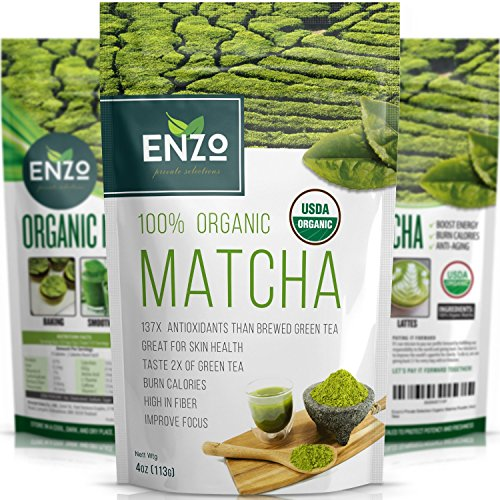 MATCHA Green Tea Powder - Fat Burner - 100% USDA Organic Certified - 137x ANTIOXIDANTS Than Brewed Green Tea - Sugar Free - Great for Green Tea Latte Smoothie Ice Cream and Baking - Coffee Substitute (4oz)