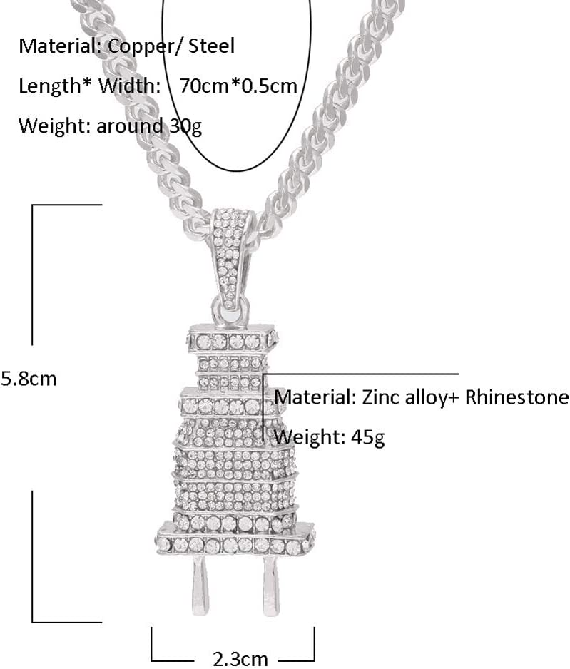Gold, Silver European and American Hip hop Heavy Work Full Drill Plug Pendant Set with 421 Diamond Pendants Hip hop Necklace Jewelry