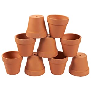 Terra Cotta Pots - 9-Pack Mini Clay Flower Pot Planters for Indoor, Outdoor Plant, Succulent Display, Brown - 3 Inches