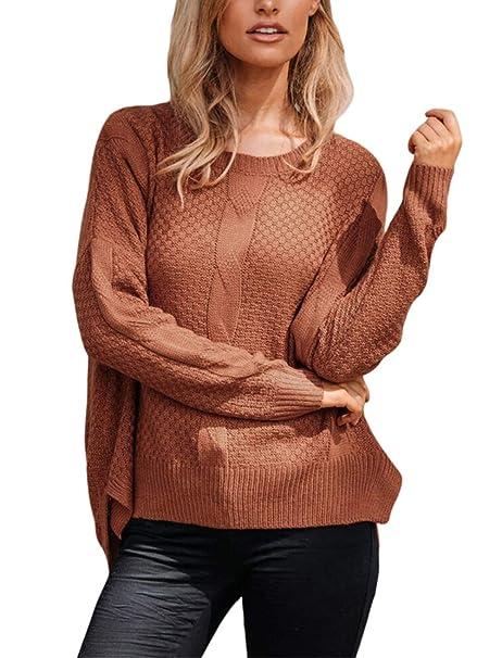 Toobeauty Pull Femme Tunique Large Grande Taille Pullover Hiver en Tricot  Torsadé Derrière Plus Longue Chic fec9bf6b9047