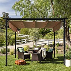 Garden and Outdoor Best Choice Products 10x10ft Extra-Large Outdoor Pergola, Patio Shelter w/Retractable Sun Shade Canopy Cover, Weather… pergolas