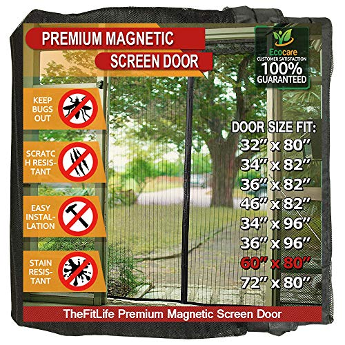 (TheFitLife Magnetic Screen Door - Heavy Duty Mesh Curtain with Full Frame Hook and Loop Powerful Magnets that Snap Shut Automatically - Black 62''x81'' - Fits doors up to 60''x80'' Max)