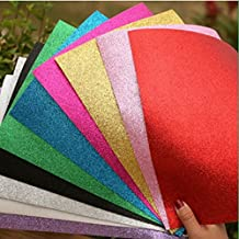 """Glitter Foam Sheet Sparkles Self Adhesive Sticky 12"""" X 10"""" Back Paper 10-pack for Children's Craft Activities DIY Cutters Art Assorted Colors"""