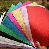 "Glitter Foam Sheet Sparkles Self Adhesive Sticky 12"" X 10"" Back Paper 10-pack for Children's Craft Activities DIY Cutters Art Assorted Colors"