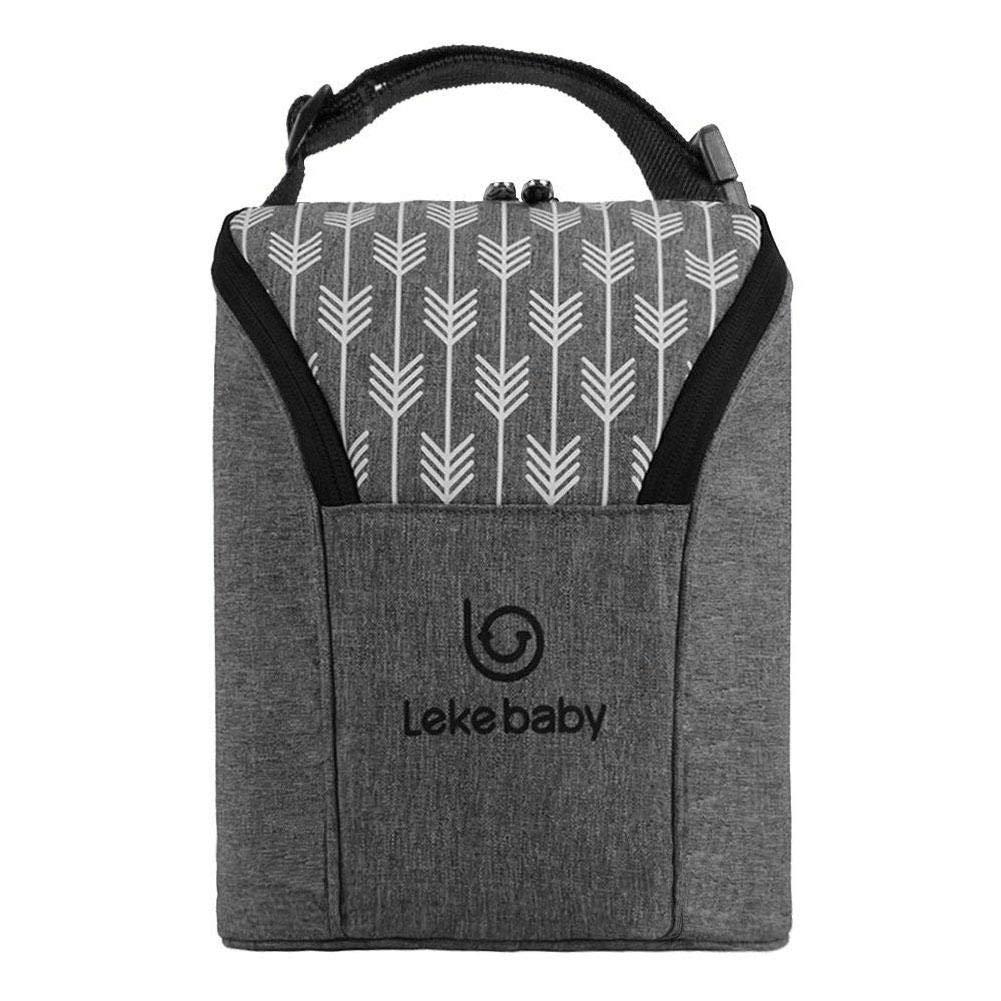 Isoliertasche Große Kapazität Kühltasche Thermotasche Isolierte Tasche für Babyflaschen, Grau Leiyini