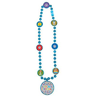 """amscan Fancy Bright Birthday Party Bead Necklace Party Accessories, Multicolor, 28"""": Kitchen & Dining"""