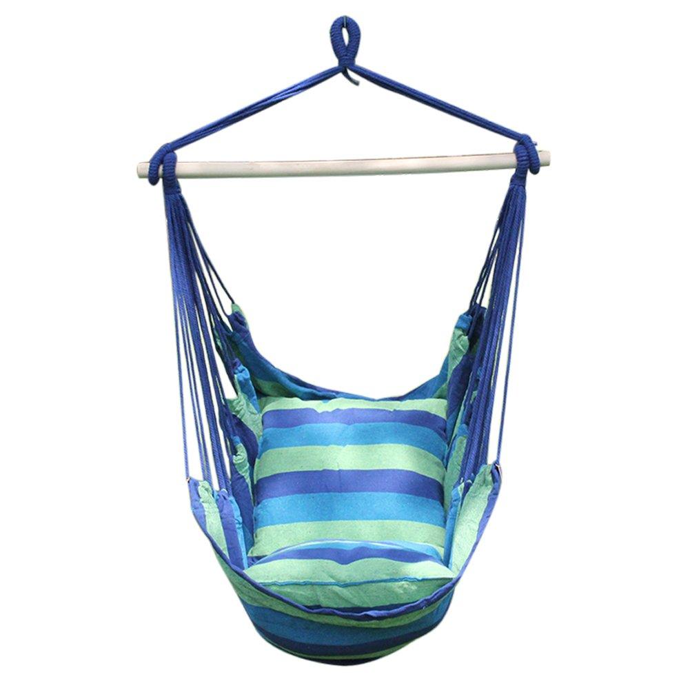 à suspendre Corde Hamac Chaise balançoire avec 2coussins d'assise pour intérieur ou extérieur Jardin Camping Plage Charge max. 120kg bleu