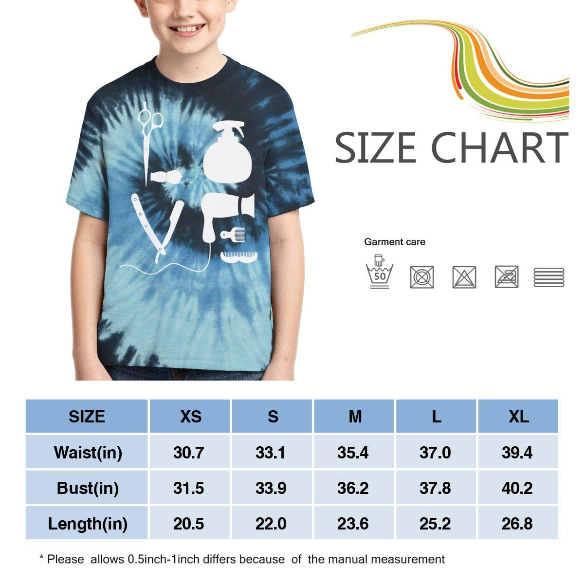AMODECO Barber Salon Hairdresser Love 3D Printed Tee T-Shirt for Youth Teenager Boys Girls