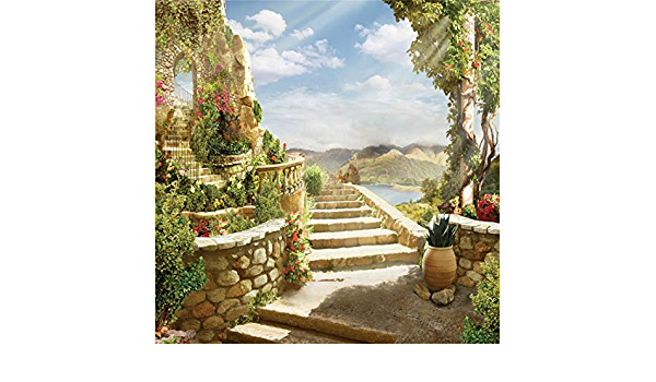 YEELE 15x10ft Stairway to Heaven Photography Background Stairway Leading up to Bright Light Above The Sky Backdrop Paradise Gate Church Xmas Bless Angel Photo Studio Props Video Drape Wallpaper