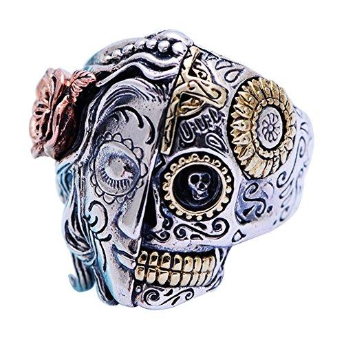 Gothic 925 Sterling Silver Half Face Sugar Skull Ring Biker Jewellery for Men Women Gold Tone Size 9