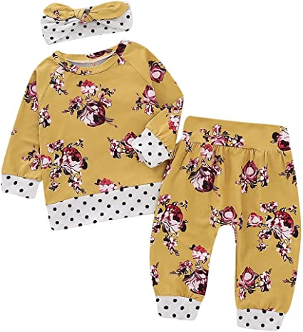 Sameno Baby Winter Clothes Set,Toddler Baby Boys Girls Stripe Floral Flower Print Top Pants Set Outfits