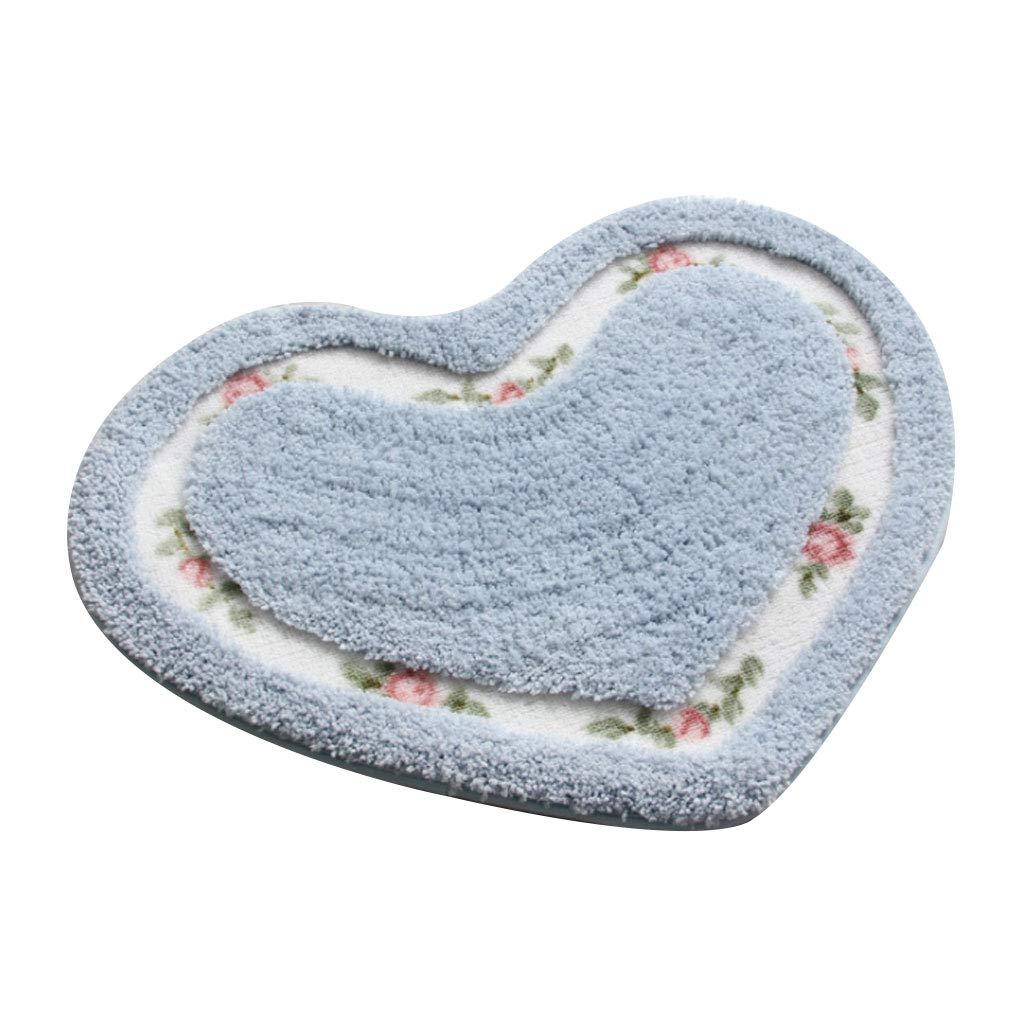 a Forma di Cuore con Rose Stampate Medium Antiscivolo Tappeto da Bagno in Stile Pastorale Resistente all/'Assorbimento dell/'Acqua Blue Lazder