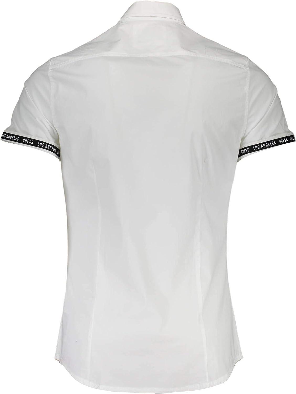 GUESS Camisa Blanca Manga Corta de Hombre (M - Blanco): Amazon.es ...