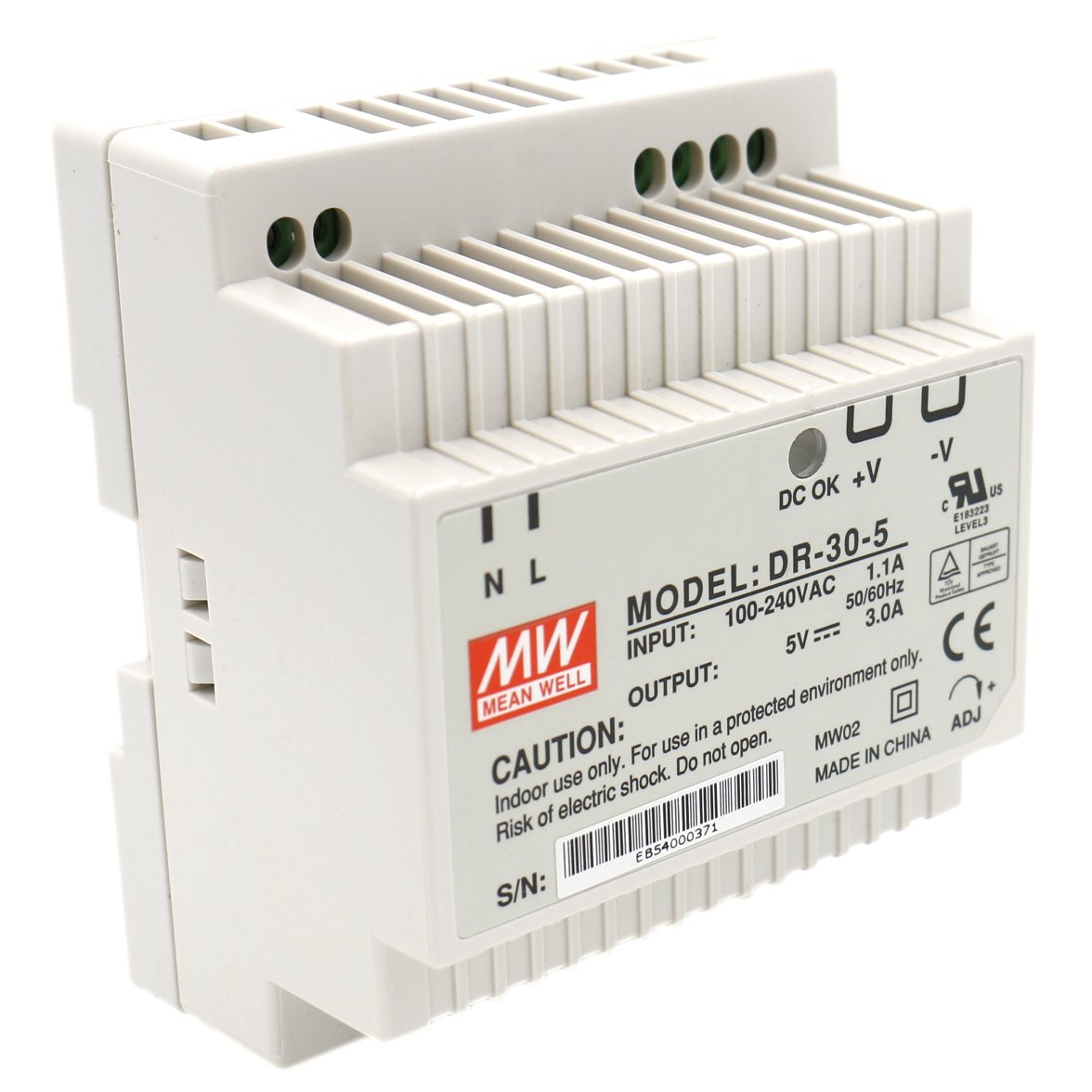 Heschen Meanwell alimentation de commutation DR-30-5 15W 5V 3A DIN-Rail UL CE listé Meanwell Enterprises Co.Ltd