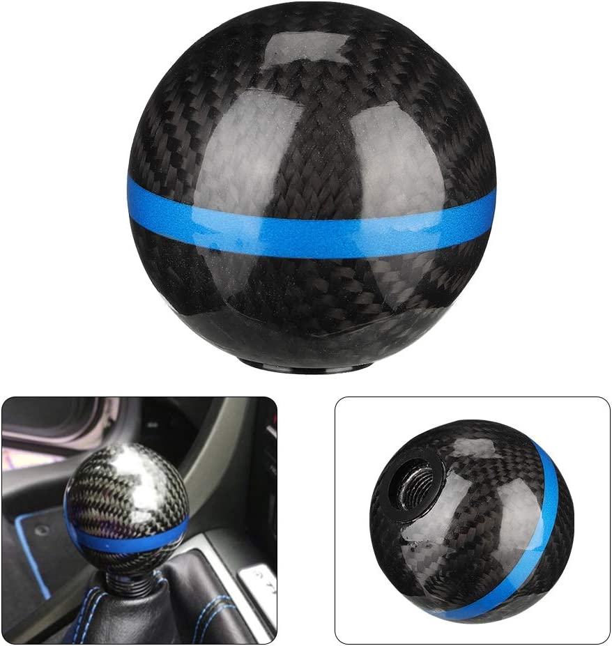 Qiilu Shift Knob,Universal Carbon Fiber Style Car Gear Shift Knob Head Car Modification Accessories